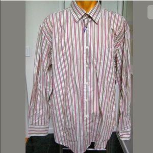 NEW ALAN FLUSSER MENS STRIPED DRESS SHIRT XL